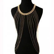 Fashion Multilayer Tassel Gold Metal Body Chain