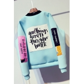 Leisure Round Neck Long Sleeves Printed Blue Cotto