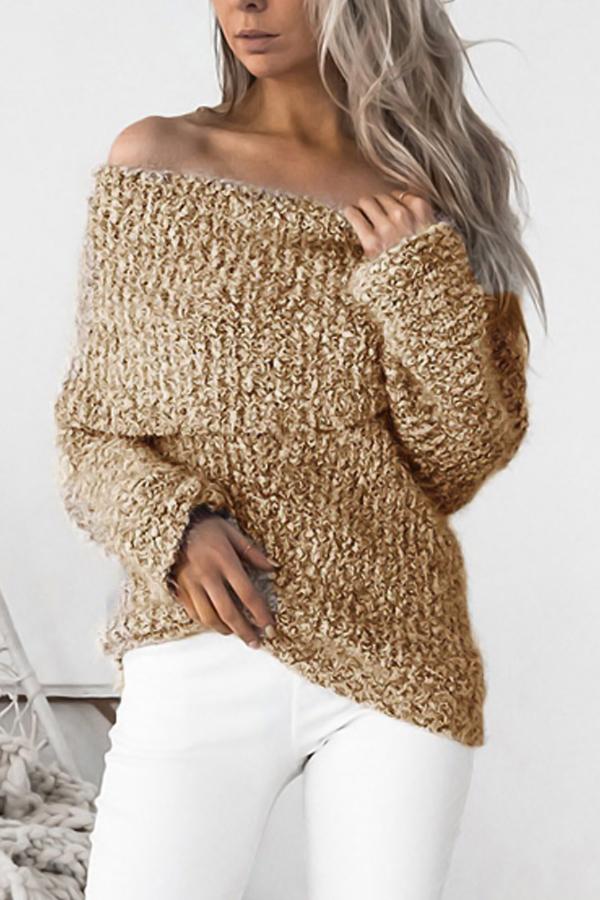Knitting Bateau Neck Long Sleeve Regular Pullovers