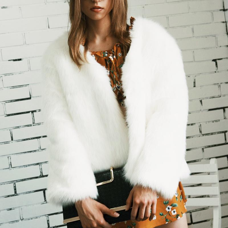 Trendy V Neck Long Sleeves Fur Design White Short