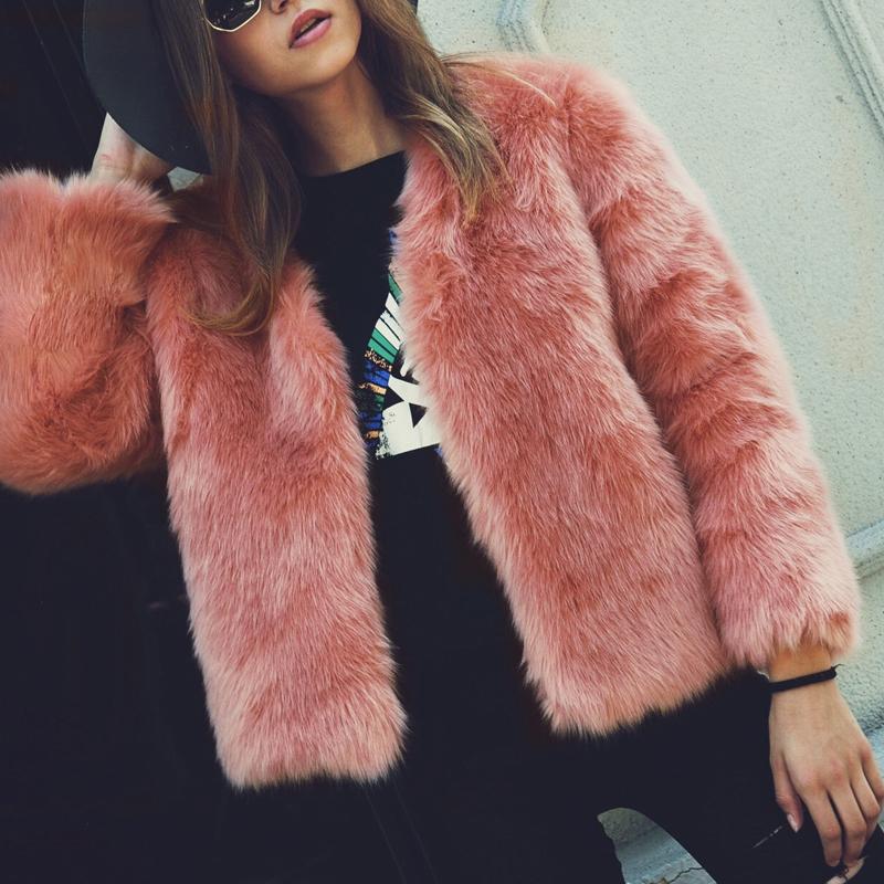 Trendy V Neck Long Sleeves Fur Design Pink Short C