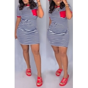 Lovely Casual O Neck Striped Patchwork Red Mini Dr
