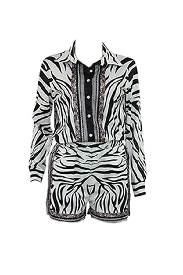 Lovely Casual Turndown Collar Black And White Two-