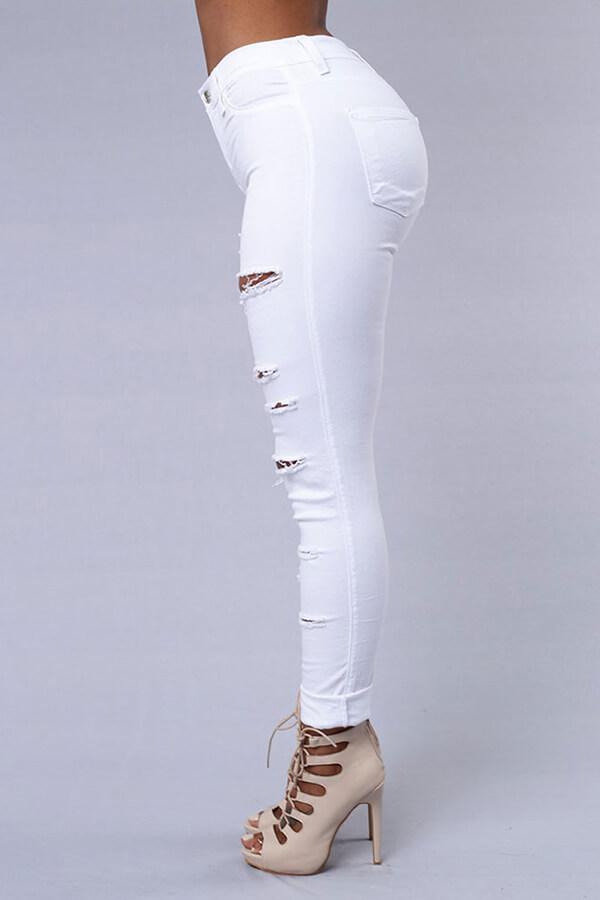 Lovely Trendy Broken Holes White Pants