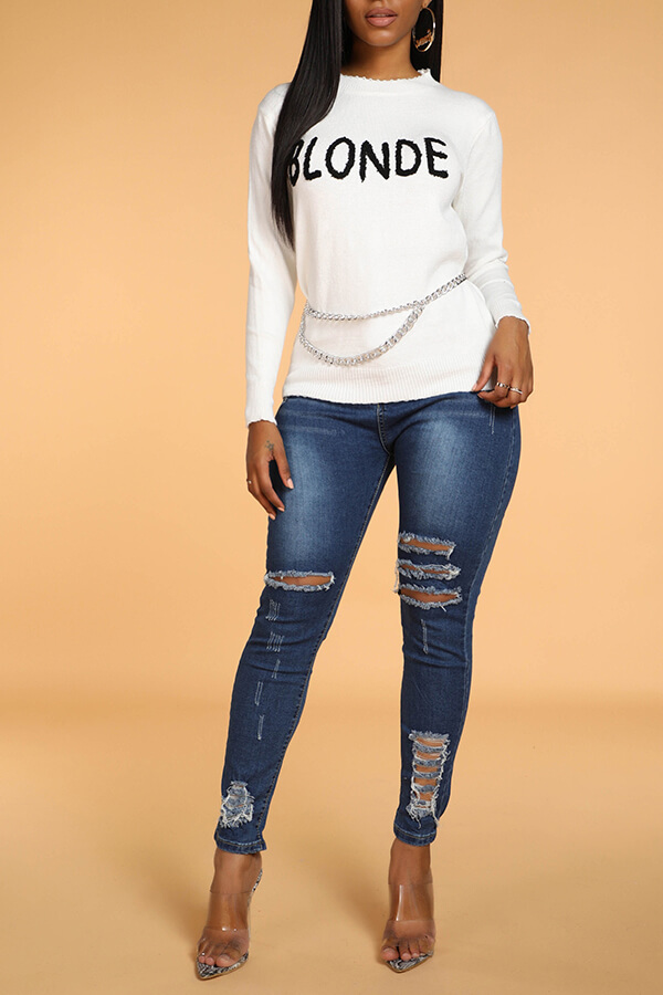 Lovely Casual Letter White Sweater