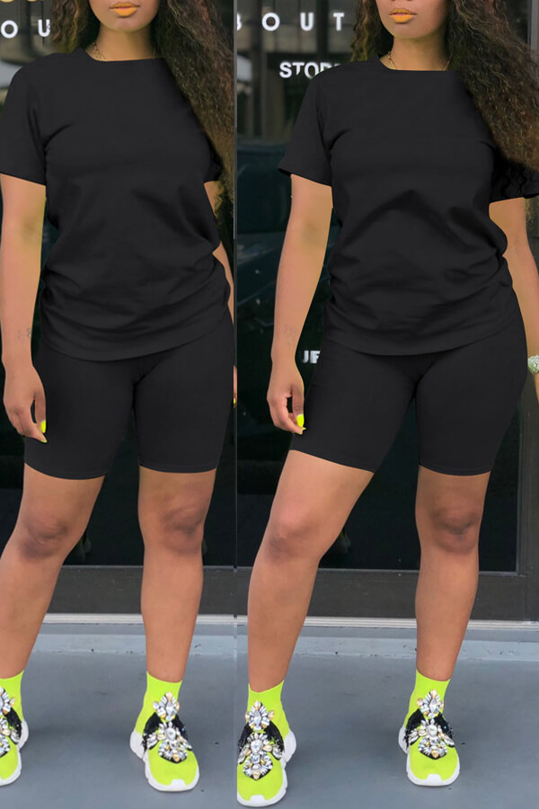 Lovely Casual Basic Black Two-piece Shorts