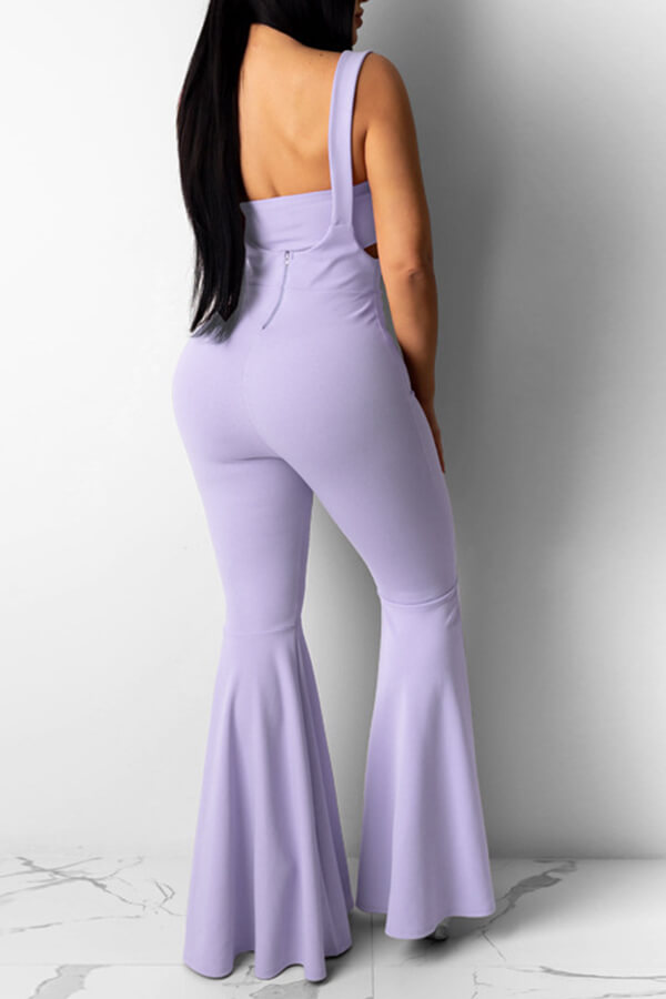 Lovely Casual Hollow-out Light Purple Two-piece Pa