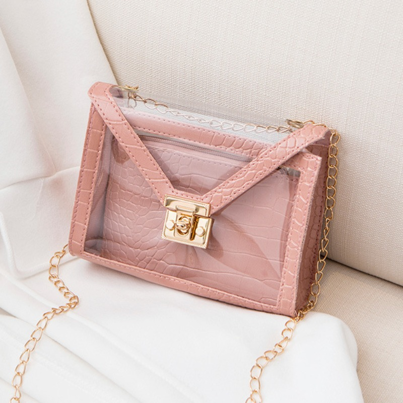 Lovely Chic See-through Pink Crossbody Bags