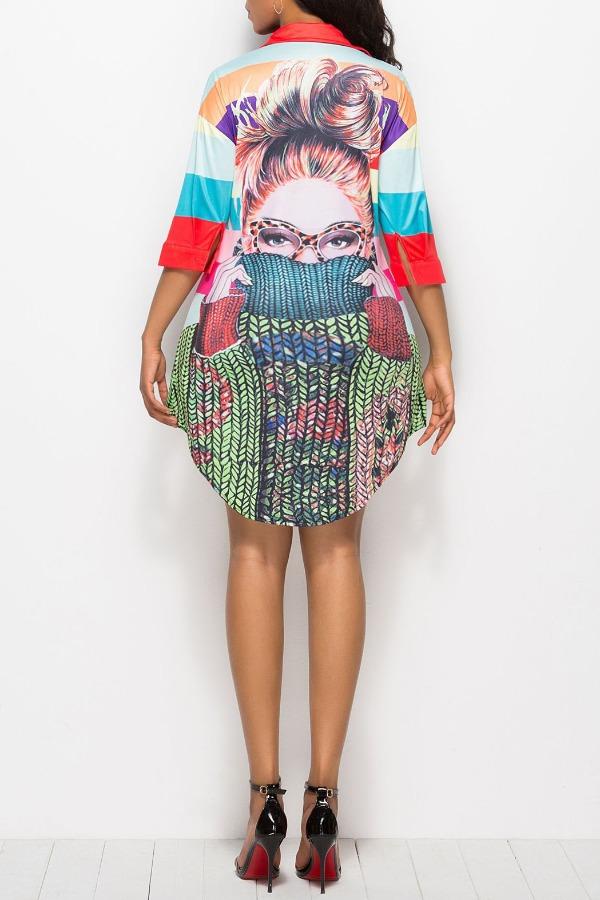 Lovely Casual Print Multicolor Mini Plus Size Dres