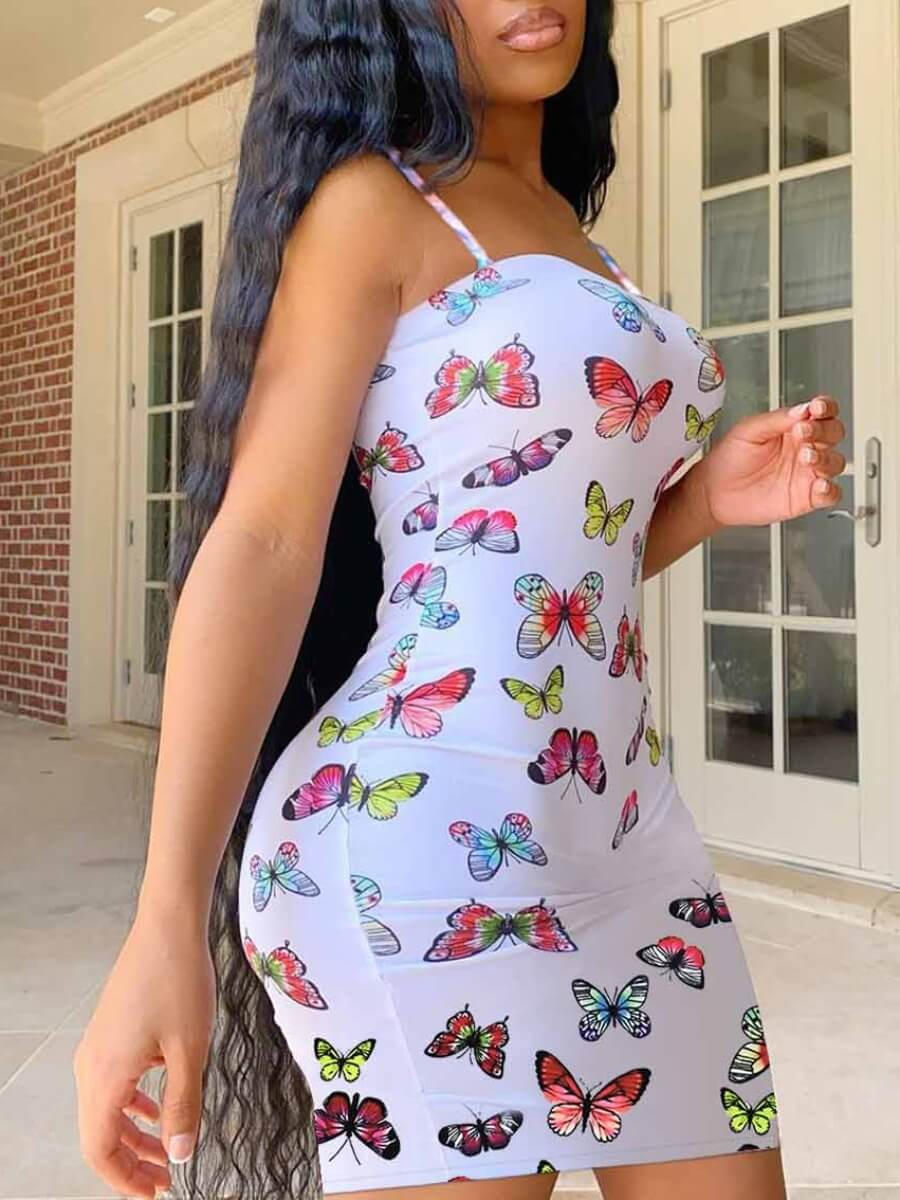 Lovely Sexy Spaghetti Strap Butterfly Print White