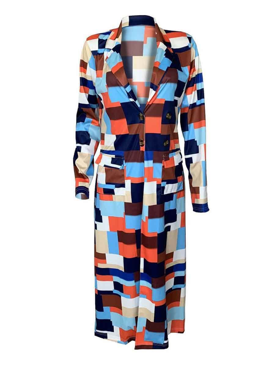 Lovely Plus Size Casual Plaid Multicolor Coat