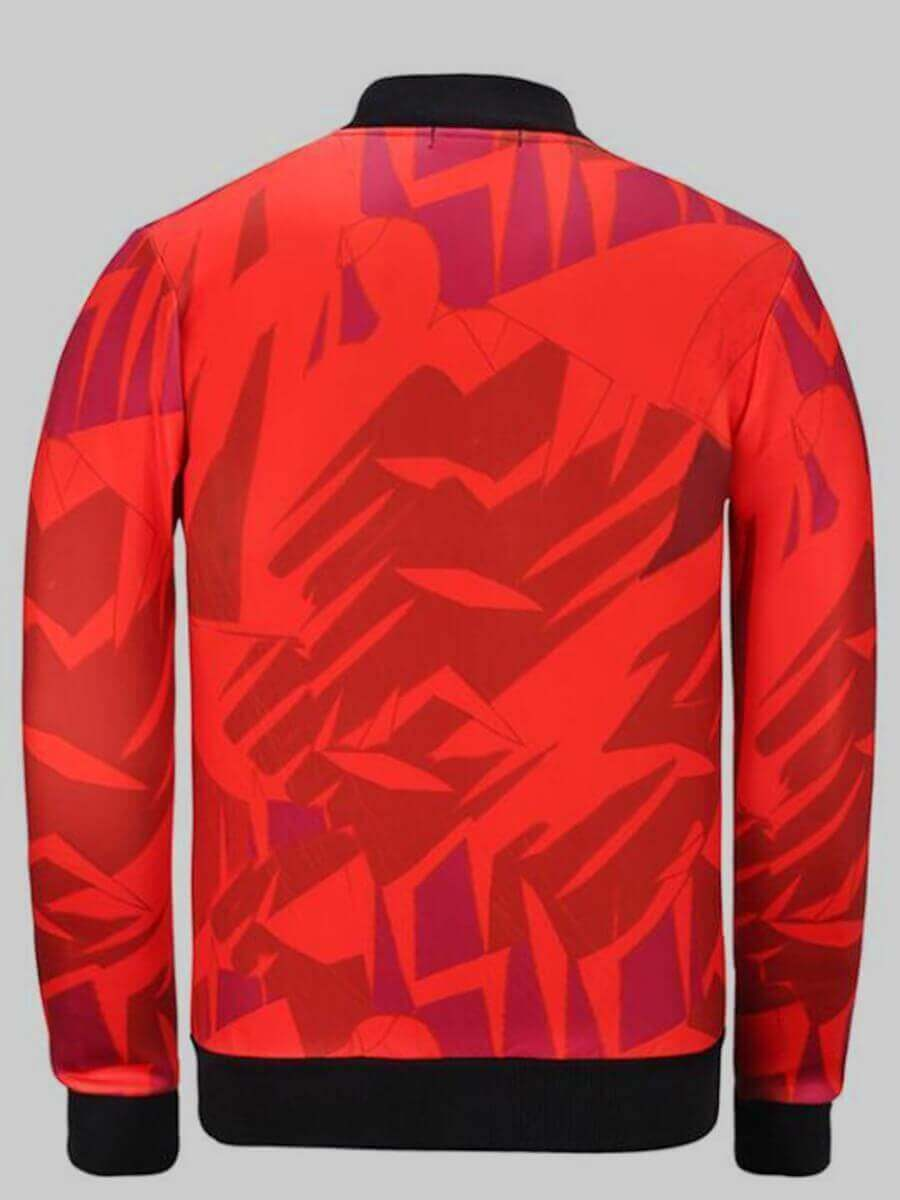 Lovely Street Print Red Plus Size Jacket