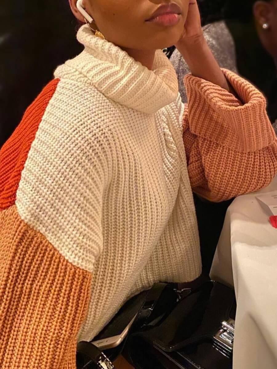 Lovely Street Turtleneck Patchwork White Sweater