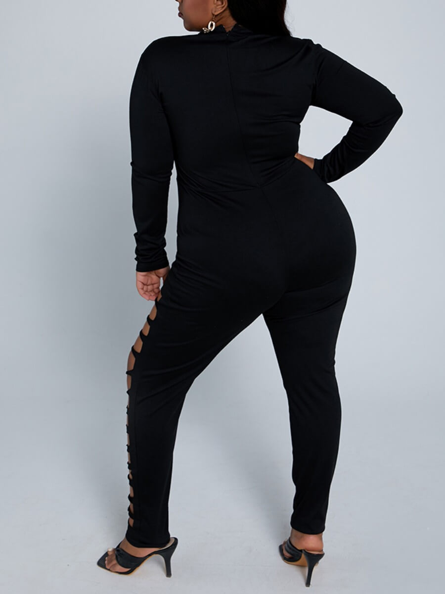 Lovely Sexy Hollow-out Skinny Black Plus Size One-