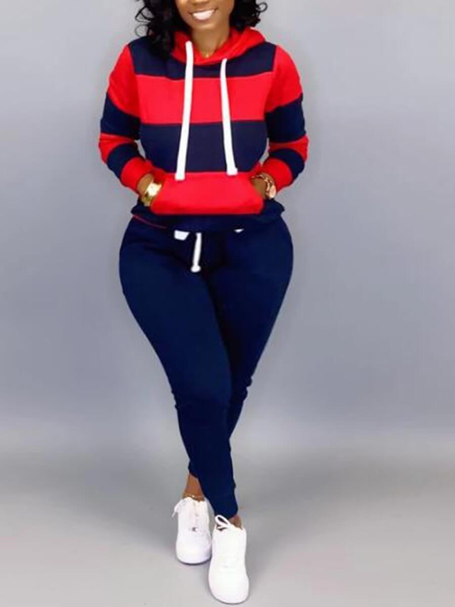Lovely Plus Size Sportswear Hooded Collar Striped
