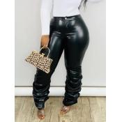 Lovely Casual Heap Skinny Black Plus Size Pants