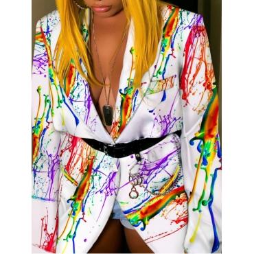 Lovely Trendy Turndown Collar Graffiti Print White