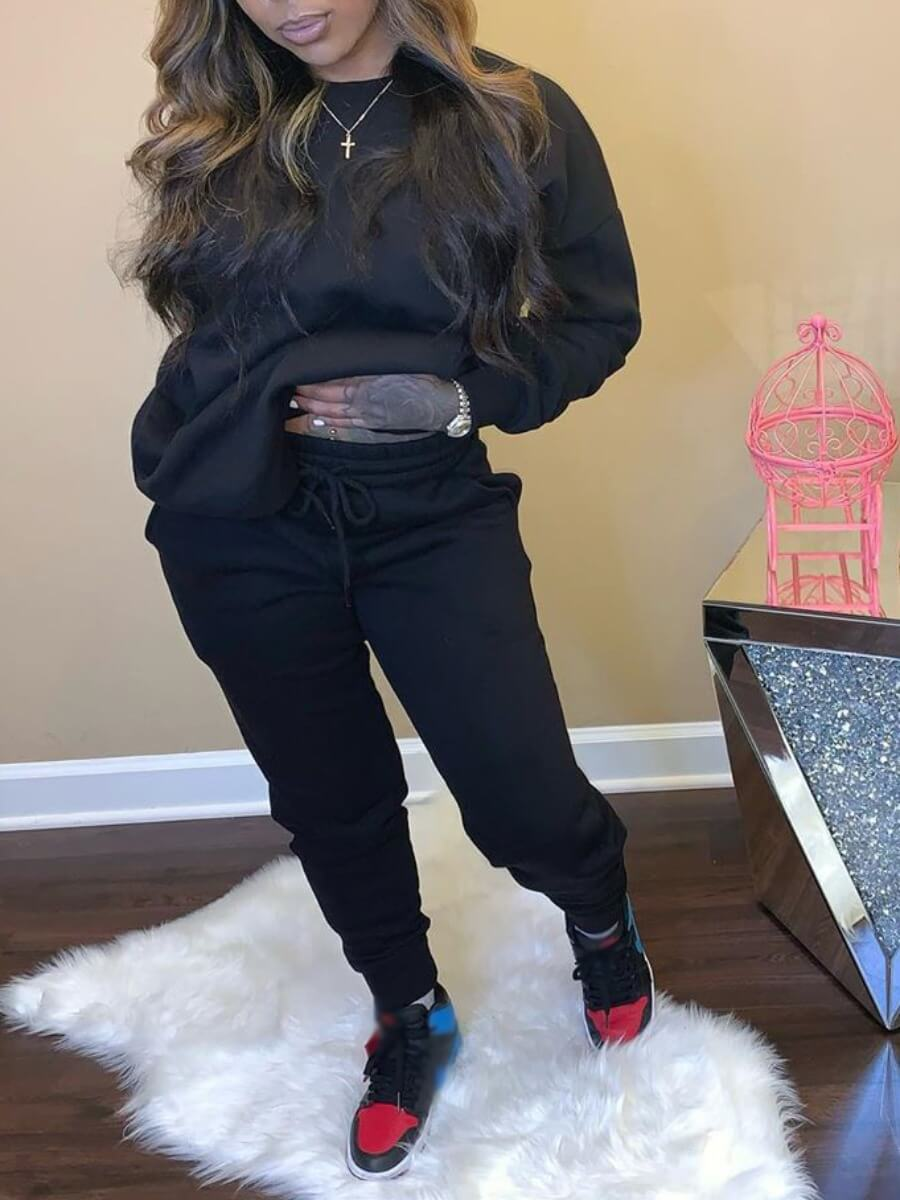 Lovely Casual O Neck Basic Black Two Piece Pants S