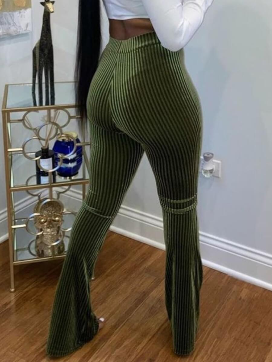 Lovely Trendy Striped Flared Army Green Pants