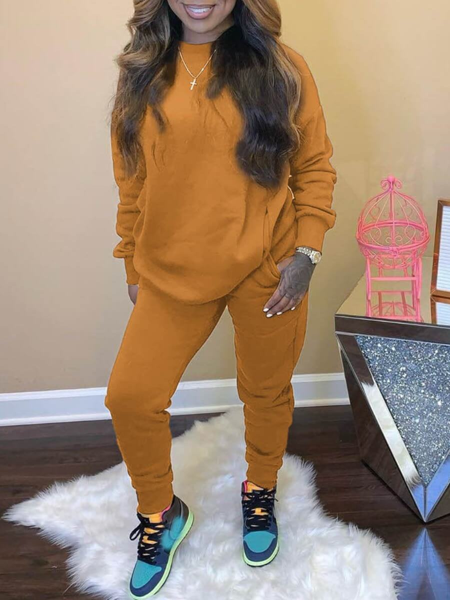 Lovely Casual O Neck Basic Yellow Two Piece Pants
