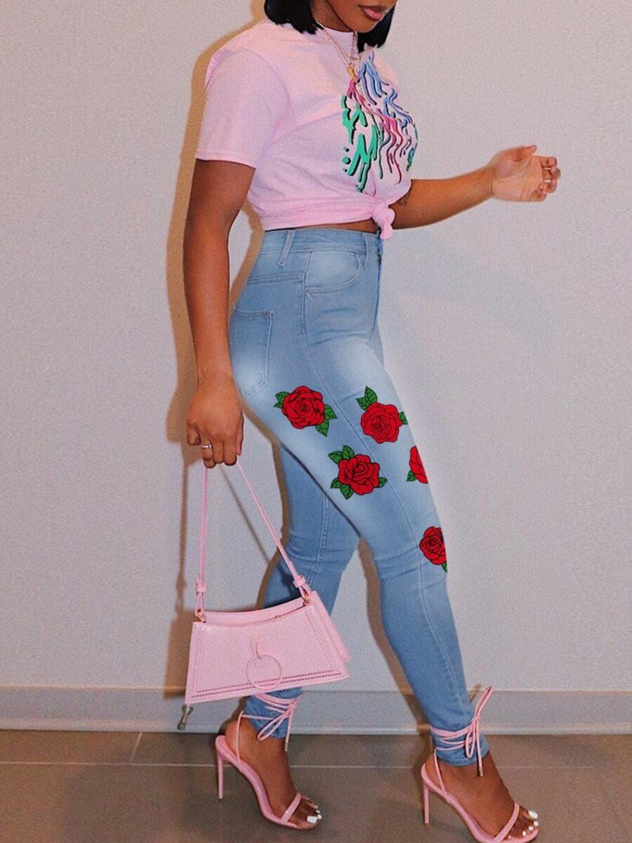Lovely Stylish Print Skinny Blue Jeans