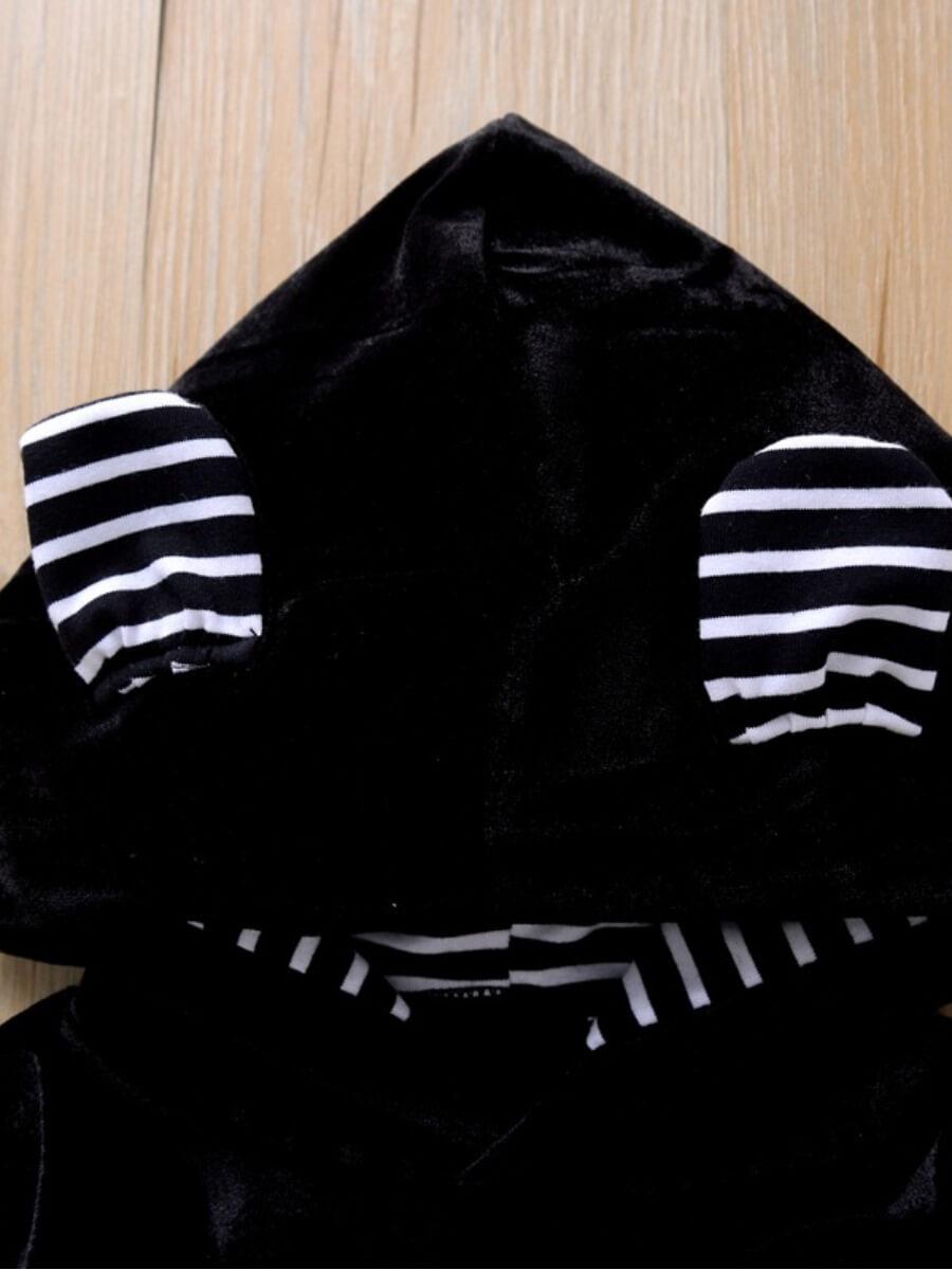 Lovely Sportswear Hooded Collar Patchwork Black Gi