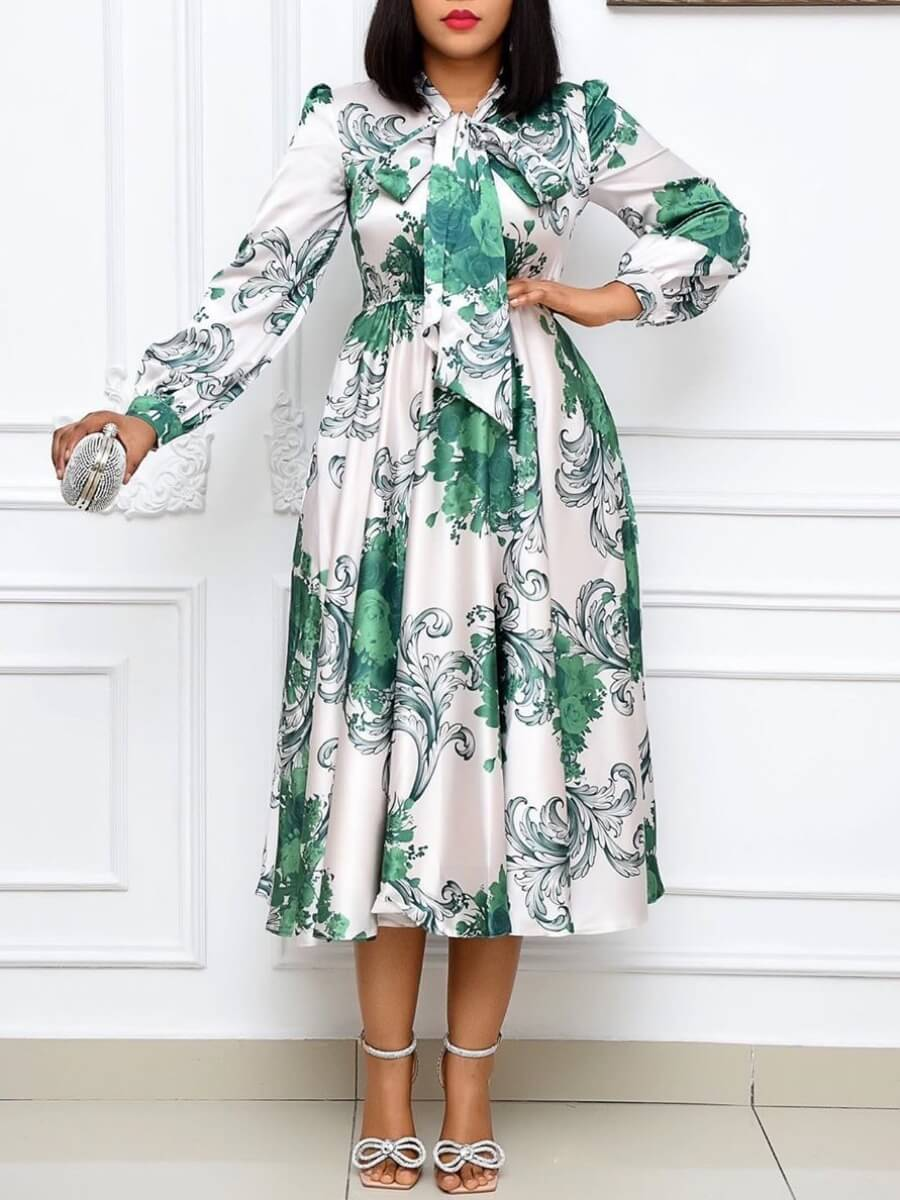 LW Trendy Print Fold Design White Mid Calf Dress
