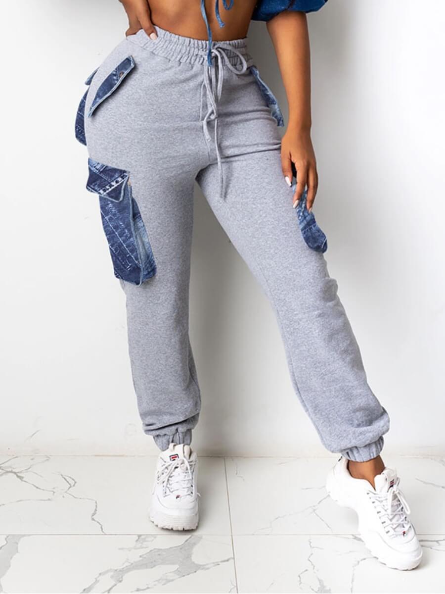 Lovely Street Pocket Patched Light Grey Pants