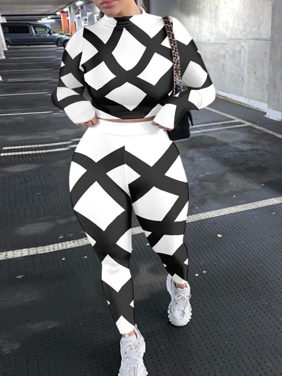 Lovely Trendy O Neck Print Skinny White Two Piece