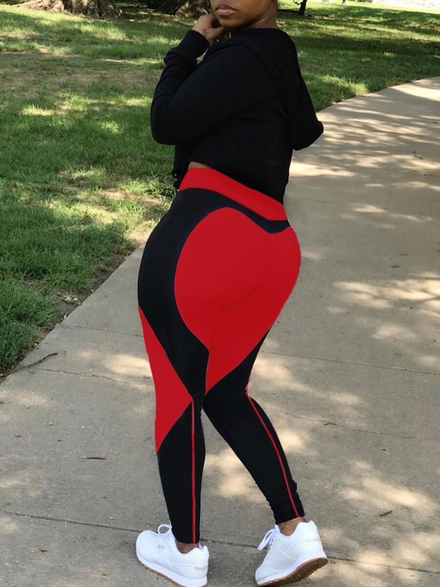 Lovely Sportswear Patchwork Red Leggings