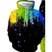 Lovely Boy Stylish Hooded Collar Print Black Hoodi