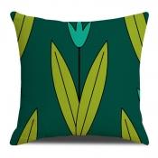 Lovely Trendy Plants Print Green Decorative Pillow