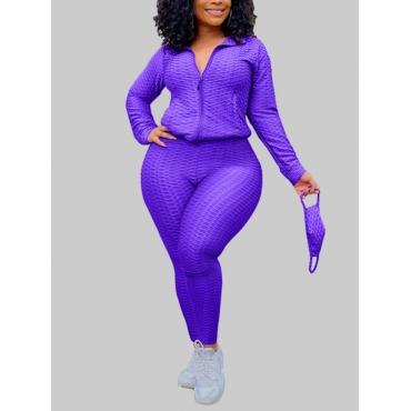 Lovely Casual Turndown Collar Zipper Design Purple