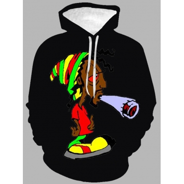 Lovely Men Casual Hooded Collar Cartoon Print Blac