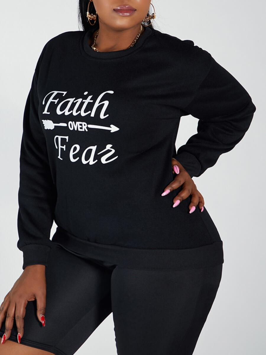Lovely Casual O Neck Letter Print Black Plus Size