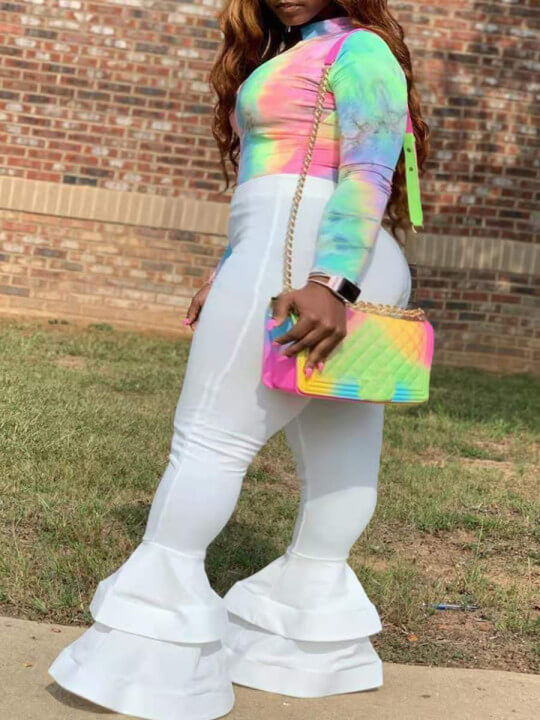 Lovely Street Flared Tie-dye Patchwork Multicolor