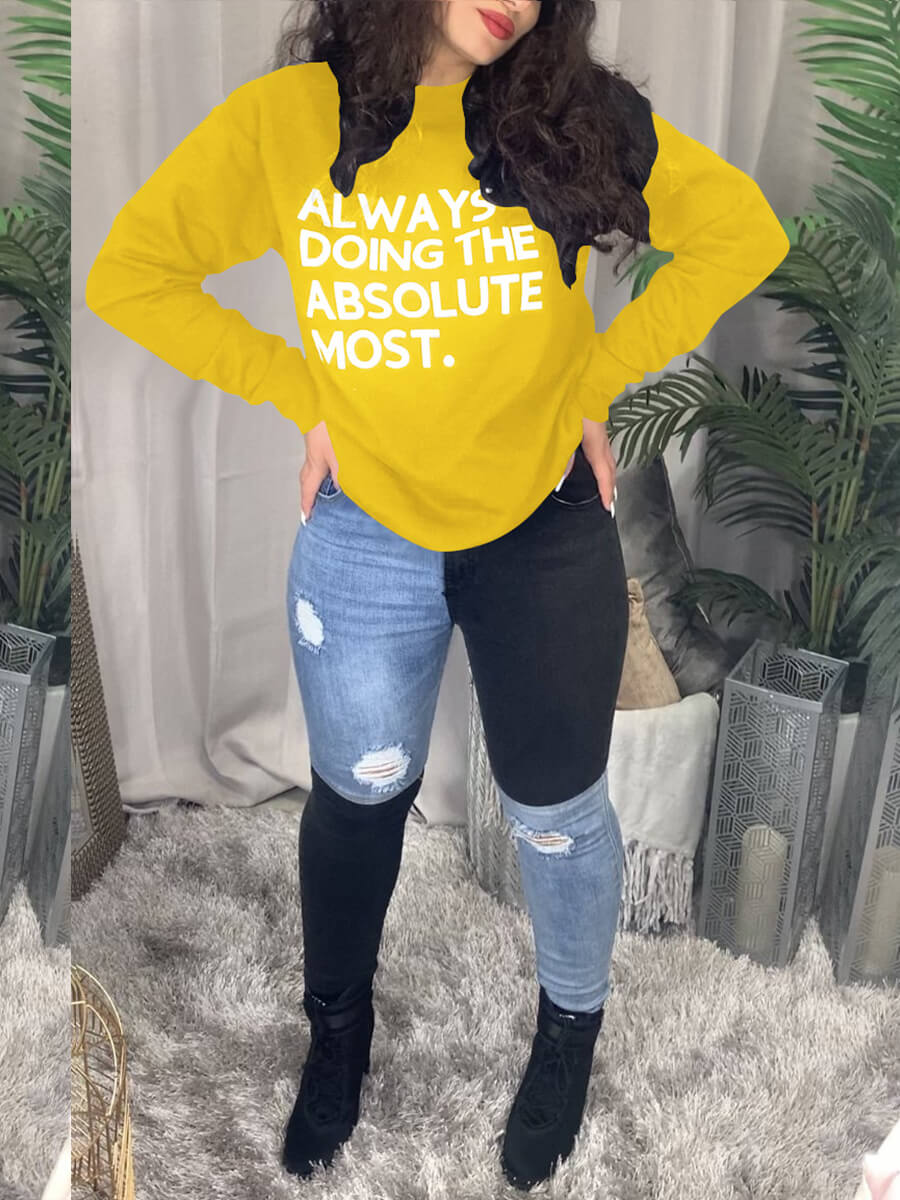 Lovely Casual O Neck Letter Print Yellow Hoodie