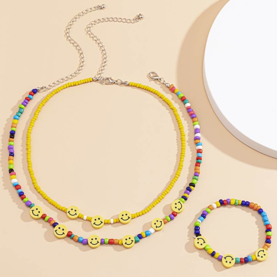 Lovely Sweet Smiley Multicolor Necklace(With Brace