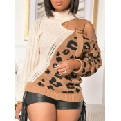 Lovely Stylish Patchwork Leopard Print Hollow-out