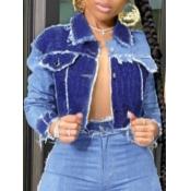 Lovely Casual Turndown Collar Patchwork Blue Denim