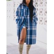 Lovely Casual Turndown Collar Grid Print Blue Coat