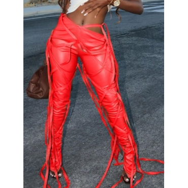 Lovely Stylish Lace-up Red Pants