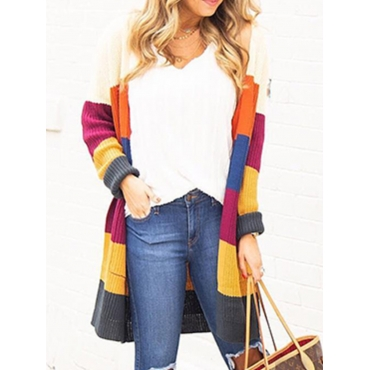 Lovely Chic Multicolor Patchwork Cardigan