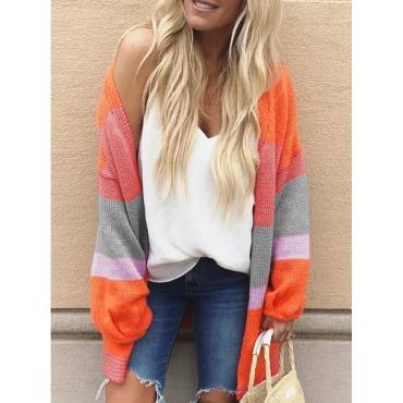 Lovely Chic Color-lump Orange Cardigan