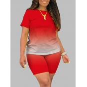 Lovely Trendy O Neck Gradient Red Plus Size Two-piece Shorts Set