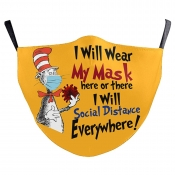 Lovely Stylish Cartoon Letter Print Yellow Face Mask