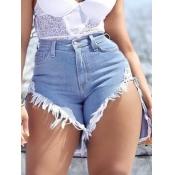 Lovely Casual Raw Edge Asymmetrical Baby Blue Denim Shorts