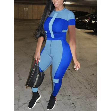Lovely Sporty O Neck Color-lump Patchwork Blue Plu