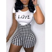 Lovely Casual Plaid Letter Print Black Two Piece Shorts Set