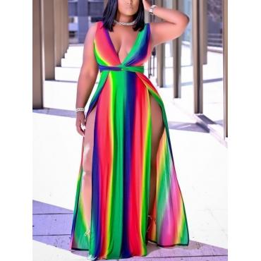 Lovely Boho Rainbow Stripe High Split Multicolor F